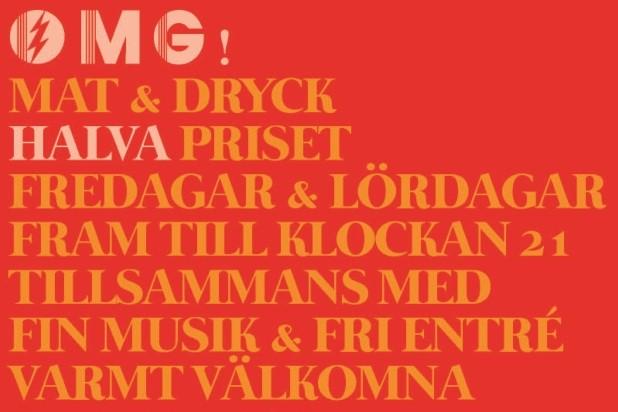 OMG! - Halva priset på menyn + DJ Stars In Coma